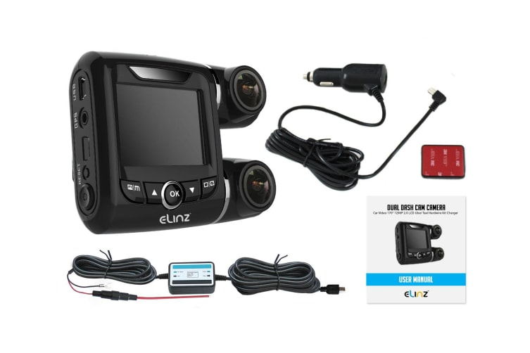 Elinz Dual Dash Cam Camera Car Video 170deg 1296P 2.0 LCD Uber Taxi Hardwire Kit Charger