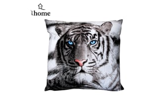 Blue Eyes Stripes Tiger Square Filled Cushion