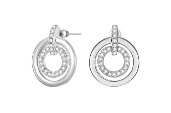 Circle Duo Earrings w/Swarovski Crystals-White Gold/Clear