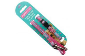 Hemm & Boo Puppy Collar And Lead Set Tartan Pink (May Vary)