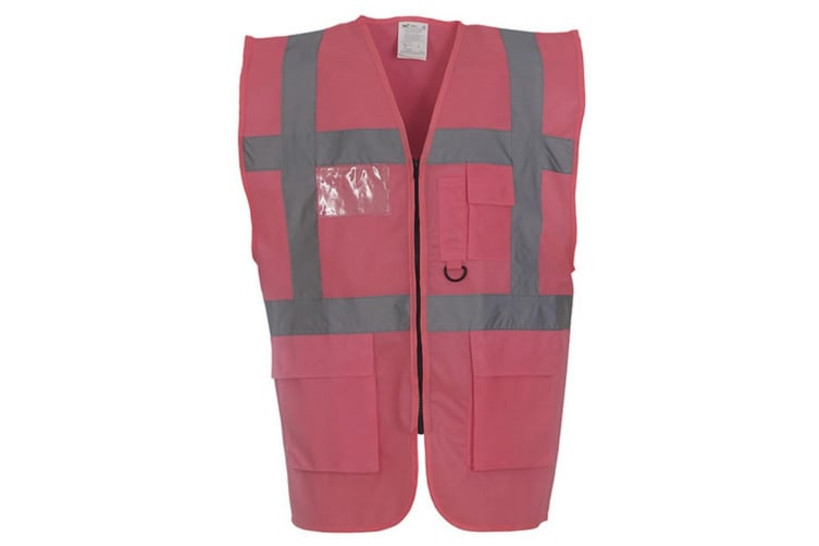 Yoko Hi-Vis Premium Executive/Manager Waistcoat / Jacket (Pink) (XL)
