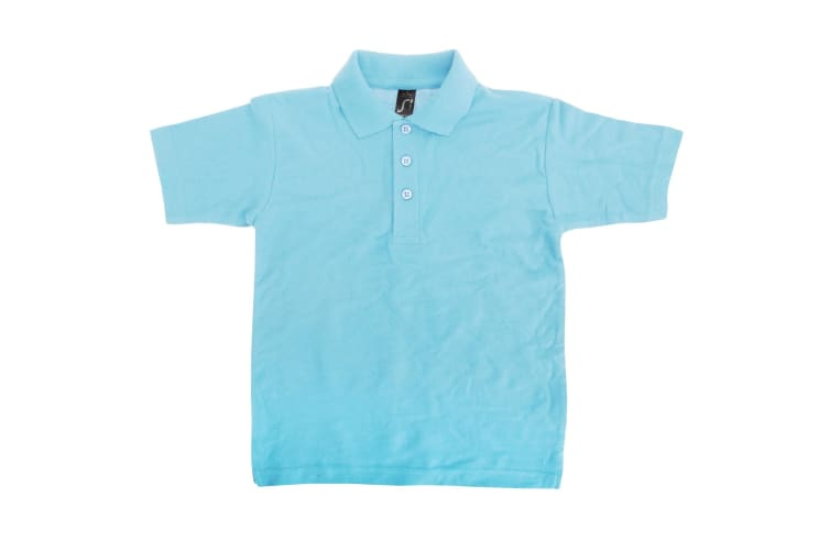 SOLS Kids Unisex Summer II Pique Polo Shirt (Sky Blue) (6yrs)