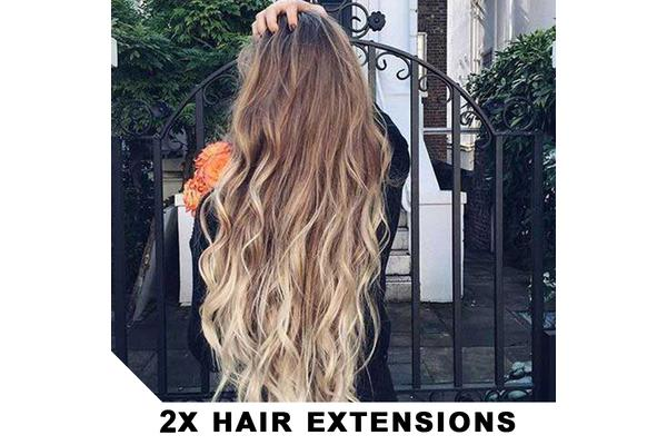 "2Pcs Two Tone Ombre High Grade Brown Curly Hair 7Piece 16Clips 24"" Hair Extension 01 2X"