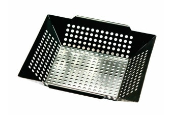 Non-stick BBQ Grill Wok Barbecue Camping Frying Perforated Square 30cm