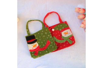 2x Christmas Felt Fabric Gift Hand Bags Storage Xmas Candy Party Santa Snowman - B