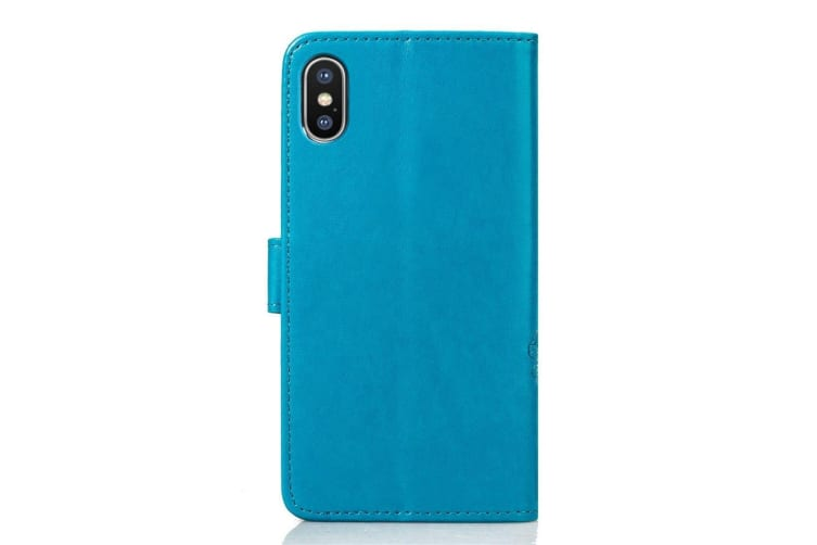 For iPhone XS Max Case Blue Embossed Pattern PU  TPU Folio-Style Leather Cover