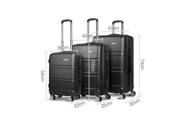 20/24/28inch Lightweight Hard Suit Case with Hand Scale (Black)