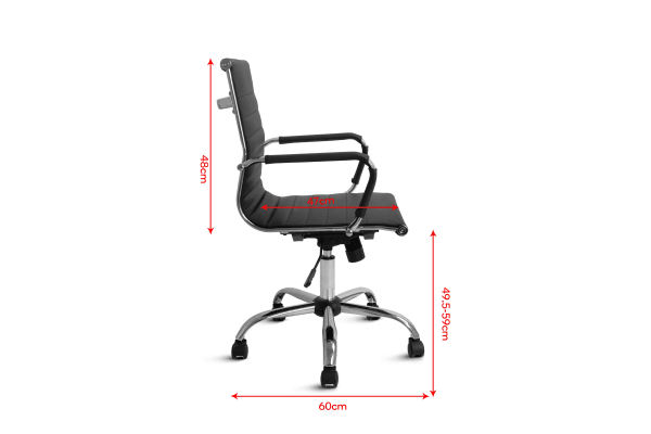 Ergolux Eames Replica Low Back Ribbed Office Chair (Black)
