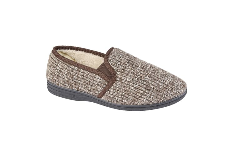 Zedzzz Mens Keith Fluffy Classic Slippers (Brown) (9 UK)