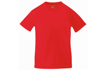 Fruit Of The Loom Childrens Unisex Performance Sportswear T-Shirt (Pack of 2) (Red) (9-11)