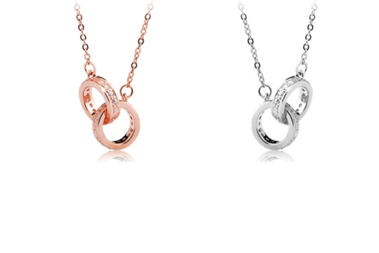 Zircon Double-Heart Short Clavicle Chain With Female Double-Ring Necklace White Gold Double Ring