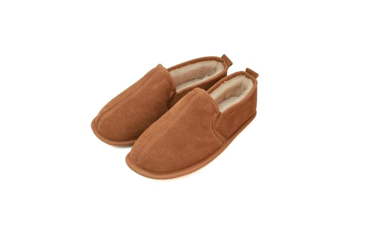 Eastern Counties Leather Mens Sheepskin Lined Soft Suede Sole Slippers (Chestnut) (6 UK)