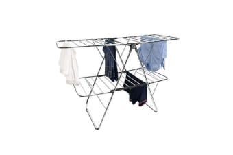 BoxSweden 2 Tier Foldable Flat Laundry Clothes Hanging Storage Airer 32 Rails