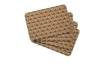 Ladelle Danni Cork Placemat 4pk Charcoal Printed