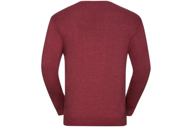 Russell Mens Cotton Acrylic Crew Neck Sweater (Cranberry Marl) (3XL)