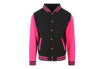 Awdis Unisex Varsity Jacket (Jet Black/Hot Pink)