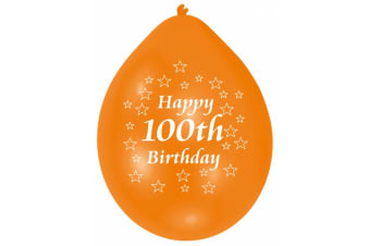 Amscan Happy 100th Birthday Multicoloured Party Balloons (Pack Of 10) (Multicoloured) (100th Birthday)