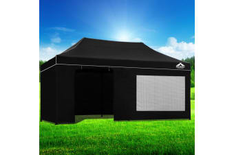 Pop Up Gazebo 3x6m Folding Marquee Tent Wedding Gazebos Black
