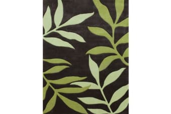 Stunning Leaf Design Rug Lime Charcoal 165x115cm