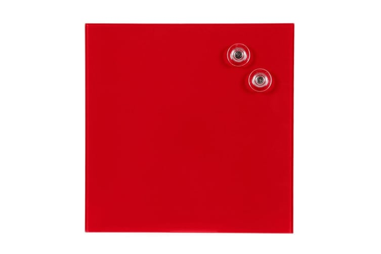 Quartet 300x300mm Magnetic Tempered Glass Wipe Off/Write On Memo/Notes Board Red