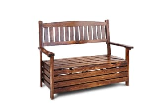 Gardeon Outdoor Storage Bench Box Wooden Garden Chair 2 Seat Timber Furniture Store