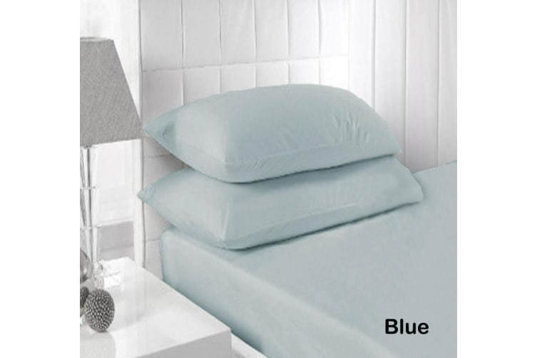 250TC Fitted Sheet Set Blue - Queen