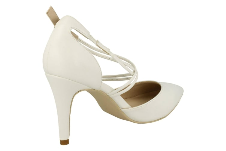 Anne Michelle Womens/Ladies Pointed Toe Court Shoes (White Synthetic) (7 UK)