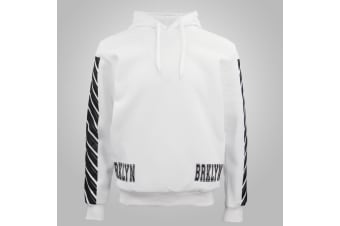 New Men's Unisex Pullover Hoodie Casual Sports Fleece Lined Jumper Sweater White - White - White