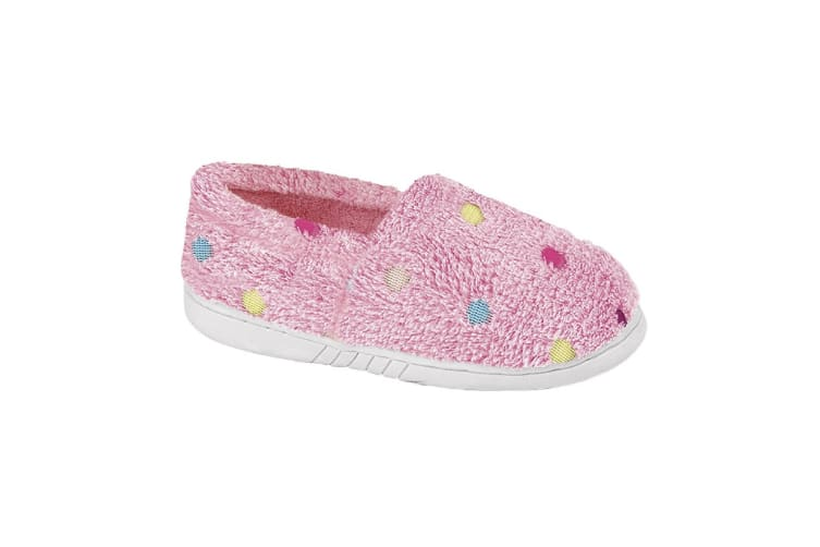Zedzzz Childrens Girls Molly Dotted Plush Slipper (Pink) (13 Childs UK)