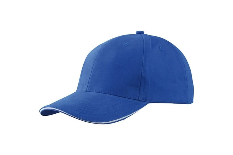 Myrtle Beach Adults Unisex Light Brushed Sandwich Cap (Royal Blue/White) (One Size)