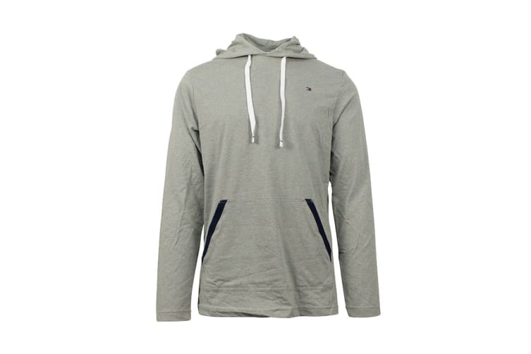 Tommy Hilfiger Men's Jersey Hoodie With Contrast Rib (Grey Heather, Size S)