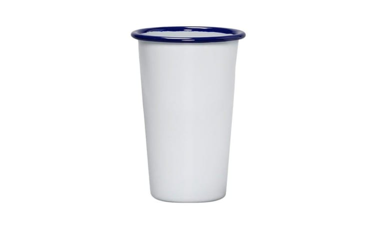 Falcon Enamel Tumbler 750ml White/Blue Rim