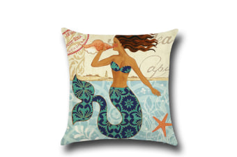 Mermaid Cotton Linen Decorative Throw Pillow Case Sets of 4 18X18 Inches 1