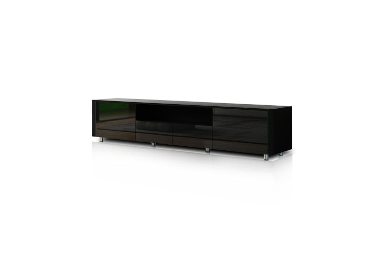 165cm TV Cabinet Stand Unit Lowline Wood Furniture Gloss Front LED w/2 Doors & 2 Drawers Black