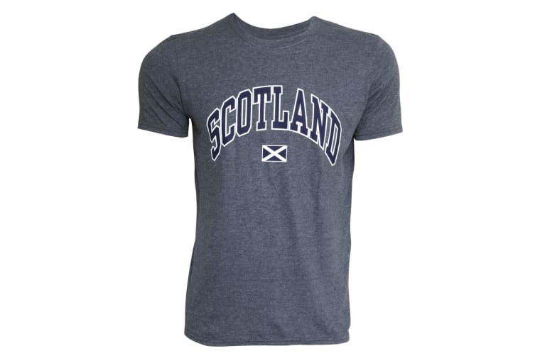 Mens Scotland Print Short Sleeve Casual T-Shirt/Top (Grey) (XL - 46inch - 48inch)