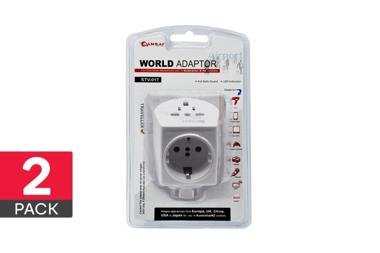2-Pack Sansai Universal Travel Adapter - Worldwide to AUS/NZ (STV-017)