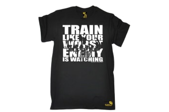 SWPS Gym Bodybuilding Tee - Train Like Your Worst Enemy - (Small Black Mens T Shirt)