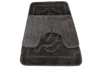 Eurobano Feel The Difference Flower Design Bath And Pedestal Mat Set (Grey)