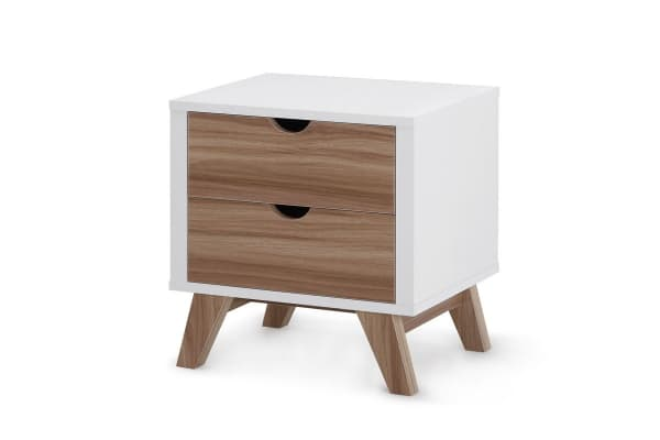 Ovela 2 Drawer Bedside Table - Finse Collection (White & Dark Birch)