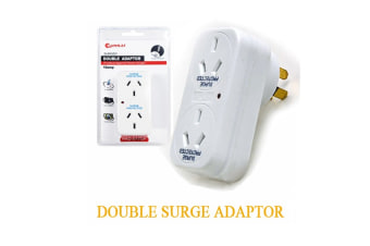 Sansai 10A 240V AC Surge Protection Double Vertical Power Adaptor LED Indicator