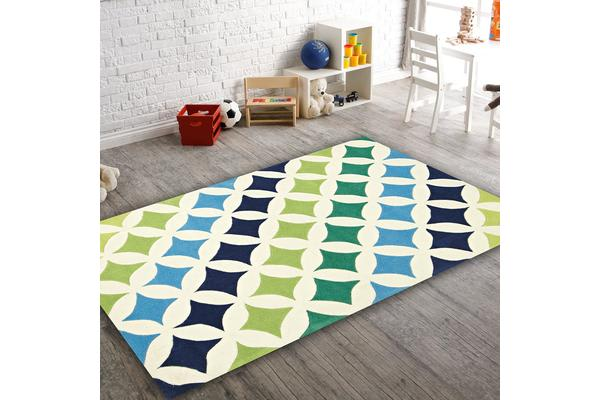 Modern Diamonds Rug Blue Green 165x115cm