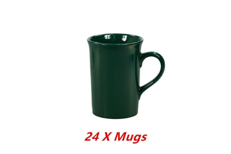 24 x Ceramic Mug Green Tall Flare Coffee Mugs Drinking Tea Cup Tumbler Event Party