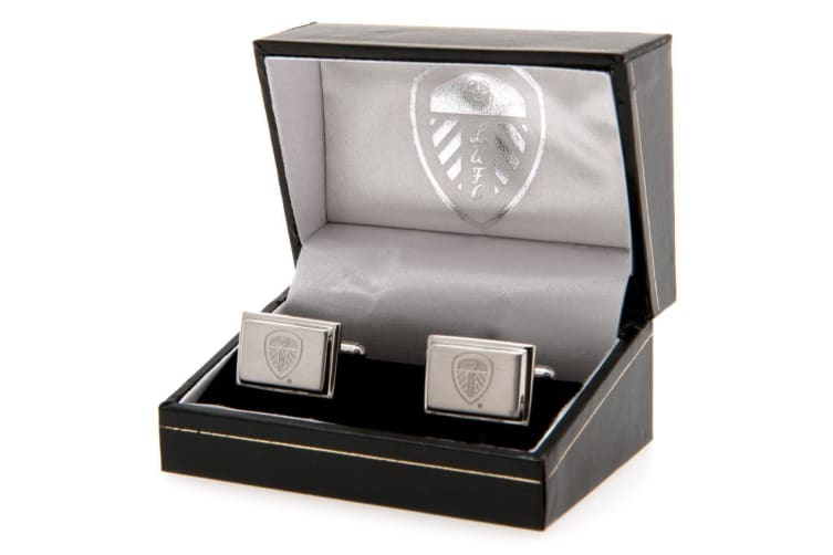 Leeds United F.C. Stainless Steel Cufflinks (Silver) (One Size)