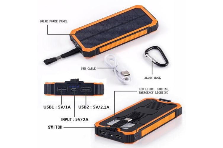 10000mAh Solar Energy Panel Charger 2 USB Ports Rechargeable Power Bank Portable Charger for Smartphone-orange