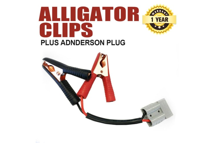 LIGHTFOX 50A Anderson Style Plug Extension Lead To Alligator Clips Solar 4mm² Cable