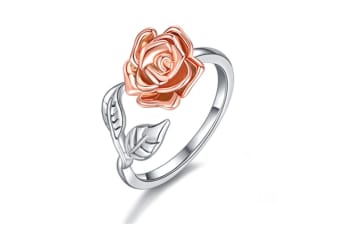 Rose Flower Ring for Women S925 Sterling Silver Adjustable Wrap Open Ring P000146