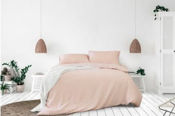 Ardor Ingrid Seersucker Stripe Quilt Cover Set (Blush)