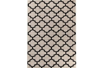Lattice Off White And Black Rug 165x115cm