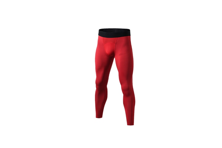Men'S Compression Pants Cool Dry Baselayer Tights Leggings - Red Red S