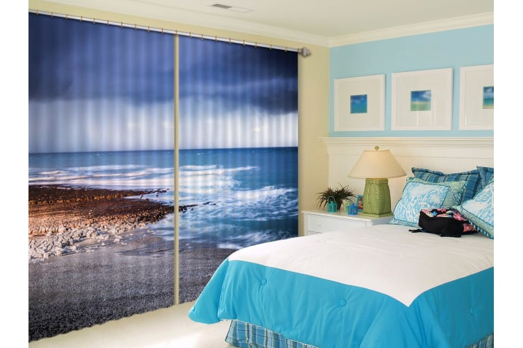 3D Sea Stones Beach 391 Curtains Drapes, 264cmx241cm(WxH) 104''x 94''